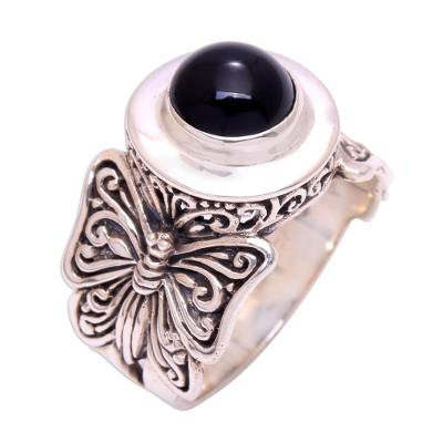 Butterfly Motif Onyx Cocktail Ring from Bali