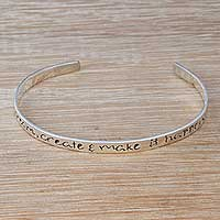 Sterling silver cuff bracelet, 'Make it Happen' - Inspirational Sterling Silver Cuff Bracelet from Bali