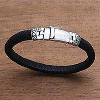 Leather wristband bracelet, 'Serene Weave in Black' - Black Leather Wristband Bracelet Crafted in Bali