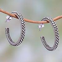 Sterling silver half-hoop earrings, 'Textured Hoops' - Braid Motif Sterling Silver Half-Hoop Earrings from Bali