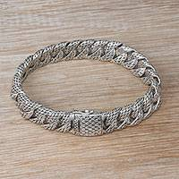 Men's sterling silver link bracelet, 'Slithering Dragon' - Men's Sterling Silver Link Bracelet from Bali