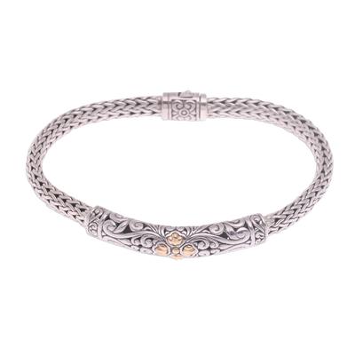 Gold accented sterling silver pendant bracelet, 'Elegant Twining' - Gold Accent Sterling Silver Pendant Wristband Bracelet