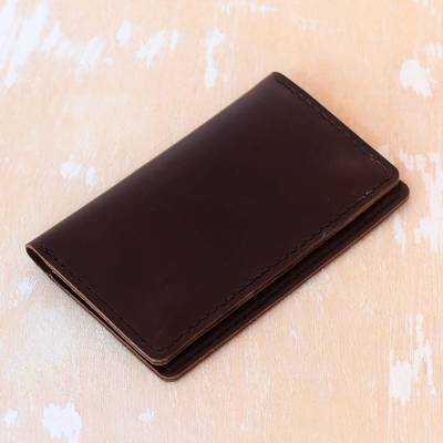 Leather passport wallet, 'Journey Mate in Dark Brown' - Dark Brown Leather Snap Closure Bi-Fold Passport Wallet