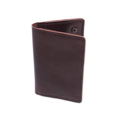 Dark Brown Leather Snap Closure Bi-Fold Passport Wallet