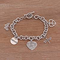 Sterling silver charm bracelet, 'Love and Bliss'