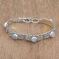 Rainbow moonstone link wristband bracelet, 'Moonlight Mystery' - Rainbow Moonstone and Sterling Silver Wristband Bracelet