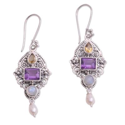 Multi-gemstone dangle earrings, 'Intricate Beauty' - Multi-Gemstone and Ornate Sterling Silver Dangle Earrings
