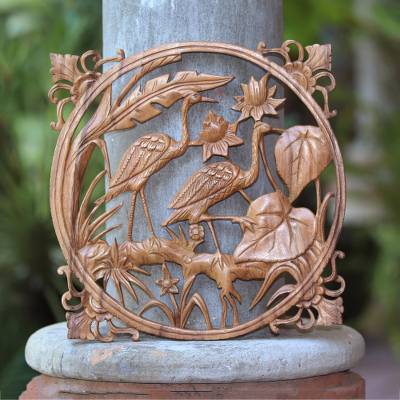Wood relief panel, 'Two Herons' - Ornate Suar Wood Balinese Nature Theme Relief Panel
