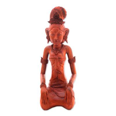 Wood sculpture, 'Red Balinese Bride' - Hand-Carved Red Suar Wood Bride Sculpture from Bali