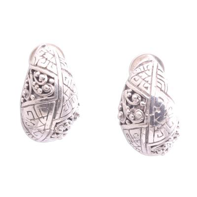 Sterling silver drop earrings, 'Sweet Swirls' - Handcrafted Sterling Silver Drop Earrings from Indonesia