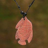 Wood pendant necklace, 'Swimming Gourami' - Sono Wood Gourami Fish Pendant Necklace from Bali