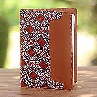 Batik cotton and faux leather planner, 'Orderly Garden' - Faux Leather and Cotton Diamond and Circle Motif Planner