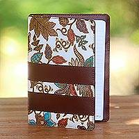 Batik cotton and faux leather planner, 'Noteworthy' - Brown Faux Leather and Cotton Leaf Print Fifty-Page Planner