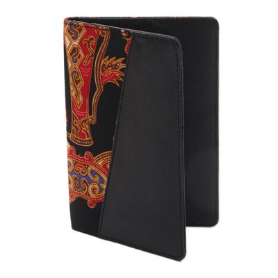 Black Faux Leather Passport Holder with Cotton Batik