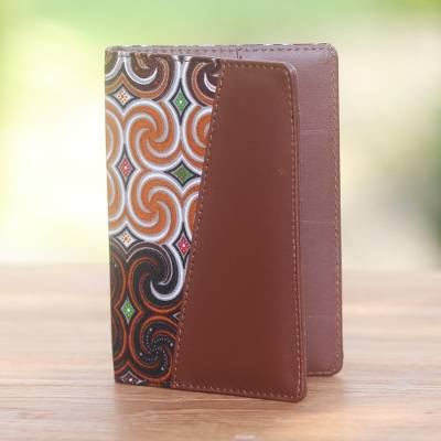 Cotton and faux leather passport holder, 'Winds of Travel' - Brown Faux Leather and Colorful Cotton Print Passport Holder