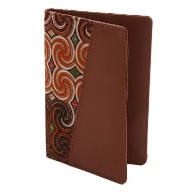 Brown Faux Leather and Colorful Cotton Print Passport Holder