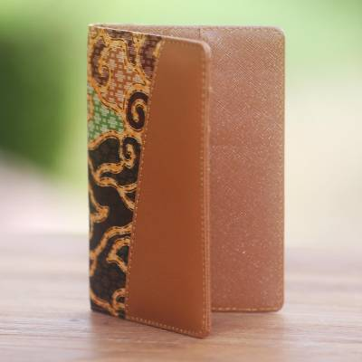 Batik cotton and faux leather passport case, 'Cloud Traditions' - Handmade Cotton Batik and Faux Leather Passport Case