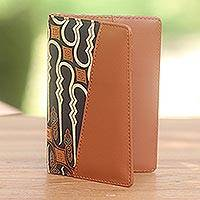 Batik cotton and faux leather passport holder, 'Sharp Traveler' - Light Brown Faux Leather Passport Holder with Cotton Print
