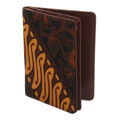 Handmade Brown and Orange Parang Faux Leather Passport Case