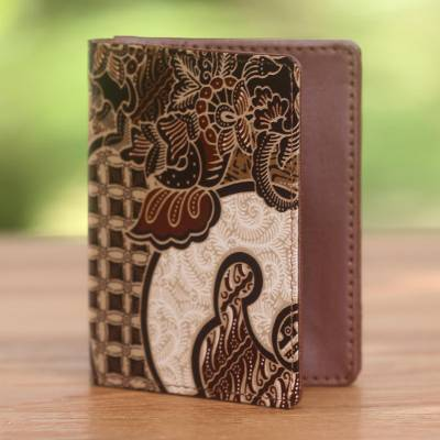 Batik cotton passport case, 'Earthy Paradise' - Artisan Crafted Brown Faux Leather and Cotton Passport Case