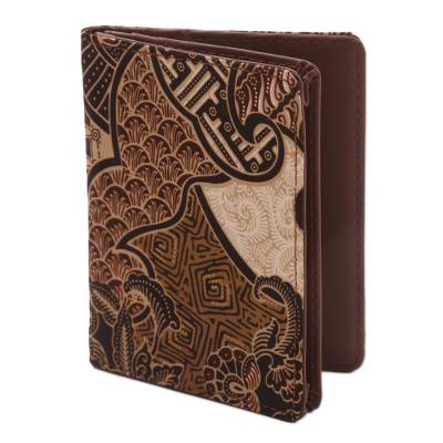Artisan Crafted Brown Faux Leather and Cotton Passport Case