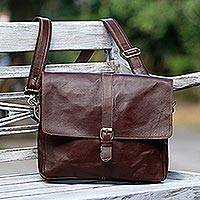 Leather messenger bag, 'Prawirotaman Pass' - Handcrafted Leather Messenger Bag in Mahogany from Java