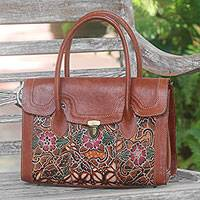 Leather handbag, 'Kawung Garden' - Brown Leather Floral Hand Stamped and Painted Handbag