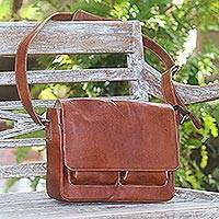 Leather messenger bag, 'Brown Traveler' - Adjustable Brown Leather Messenger Bag with Three Pockets
