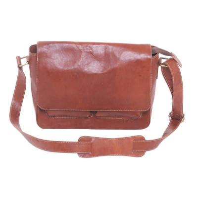 Novica Leather messenger bag, Brown Traveler