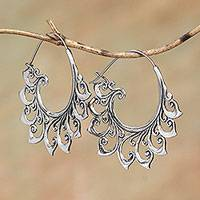 Sterling silver hoop earrings, 'Curling Tendrils' - Curling Sterling Silver Hoop Earrings from Bali