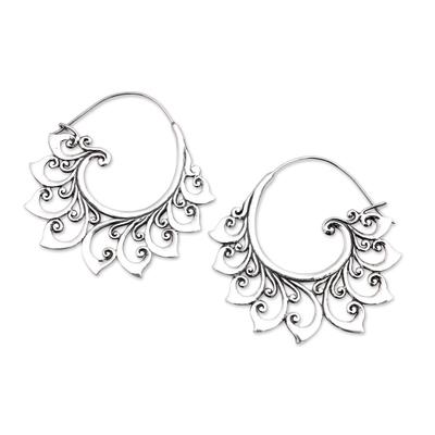 Curling Sterling Silver Hoop Earrings from Bali