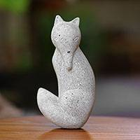 Sandstone sculpture, 'Wondering Fox' - Grey Sandstone Fox Sculpture from Java
