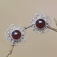 Carnelian button earrings, 'Red Jepun' - Floral Carnelian Button Earrings from Bali
