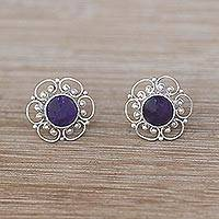Amethyst button earrings, 'Purple Jepun' - Floral Amethyst Button Earrings from Bali