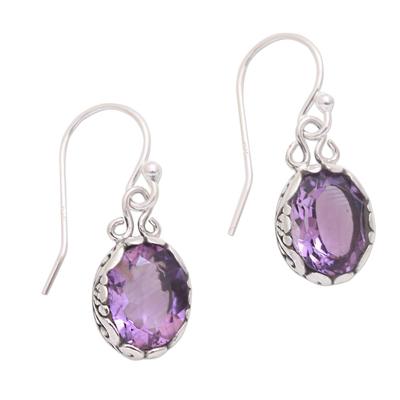 Amethyst dangle earrings, 'Lavender Pools' - Sterling Silver Faceted Oval Amethyst Dangle Earrings