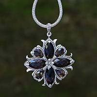 Smoky quartz pendant necklace, 'Buddha's Curl Snowflake'