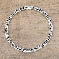 Sterling silver bangle bracelet, 'Lost in Buddha's Curls'