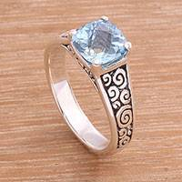 Blue topaz solitaire ring, 'Sparkling Heavens'