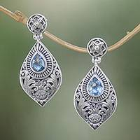 Blue topaz dangle earrings, 'Tari Lotus' - Floral Blue Topaz Dangle Earrings from Bali