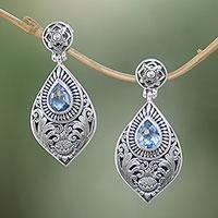 Blue topaz dangle earrings, 'Tari Lotus' - Floral Blue Topaz Dangle Earrings from Bali