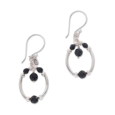 Sterling Silver and Faceted Black Onyx Dangle Earrings