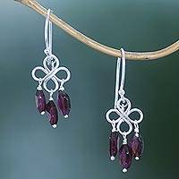 Garnet dangle earrings, 'Beautiful Inspiration' - Three-Carat Garnet Dangle Earrings Crafted in Bali