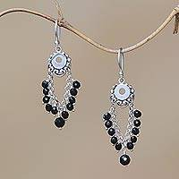 Onyx dangle earrings, 'Night Dream' - Onyx Beaded Dangle Earrings Crafted in Bali