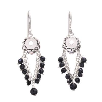 Onyx Beaded Waterfall Earrings Crafted in Bali