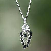 Onyx pendant necklace, 'Night Dream' - Onyx Beaded Pendant Necklace from Bali