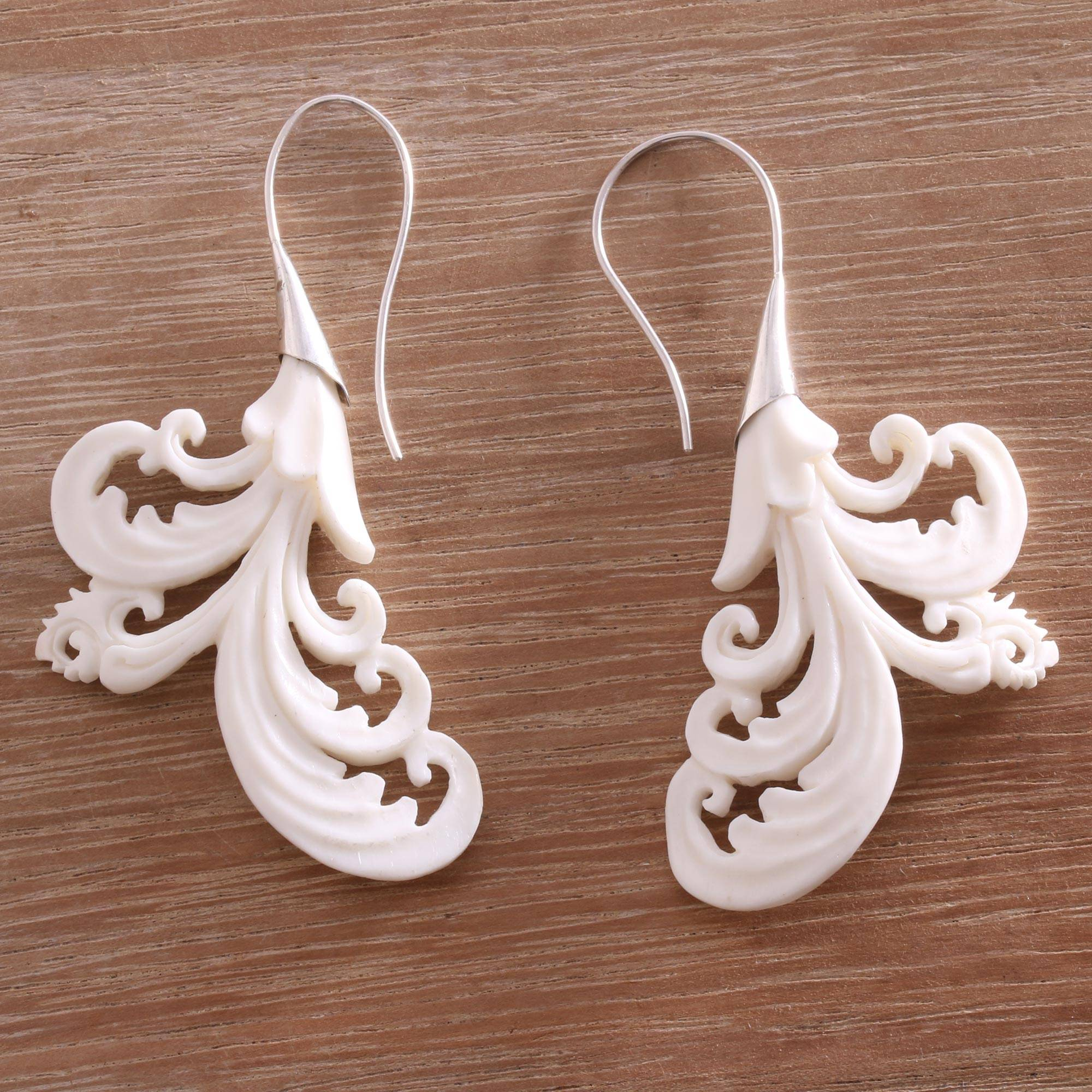 Hand Carved Bone Drop Earrings Crafted In Bali Vibrant Bali Novica
