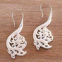 Bone drop earrings, 'Pura Plains' - Artisan Crafted Bone Drop Earrings from Bali