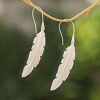 Bone drop earrings, 'Jalak Feather' - Feather-Shaped Bone Drop Earrings from Bali
