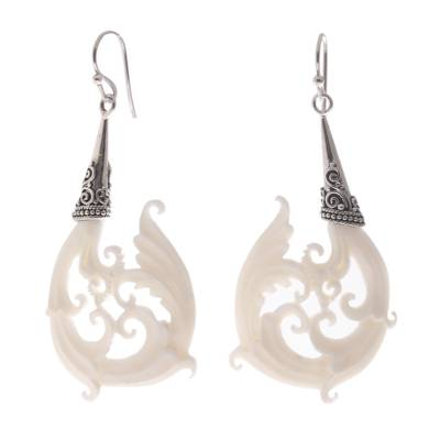 Bone dangle earrings, 'Temple Frills' - Bone and Sterling Silver Dangle Earrings from Bali