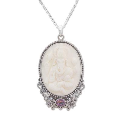 Amethyst and bone pendant necklace, 'Ganesha Blessing' - Amethyst and Bone Ganesha Necklace from Bali
